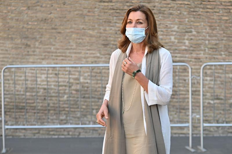 Museums Director Barbara Jatta stands outside the entrance of the Vatican Museums (Musei Vaticani) which reopen to the public on June 1, 2020 in The Vatican, while the city-state eases its lockdown aimed at curbing the spread of the COVID-19 infection, caused by the novel coronavirus. (Photo by ANDREAS SOLARO / AFP) (Photo by ANDREAS SOLARO/AFP via Getty Images)
