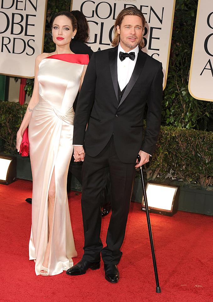 Angelina Jolie and Brad Pitt arrives at the 69th Annual Golden Globe Awards at The Beverly Hilton hotel on January 15, 2012 in Beverly Hills, California.  (Photo by Steve Granitz/WireImage)