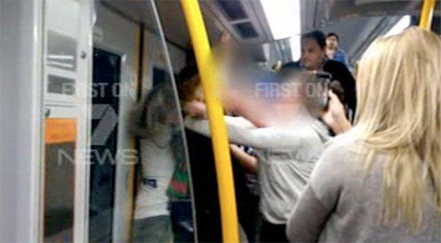 The violence was captured by a female commuter on the late night train. Photo: 7 News