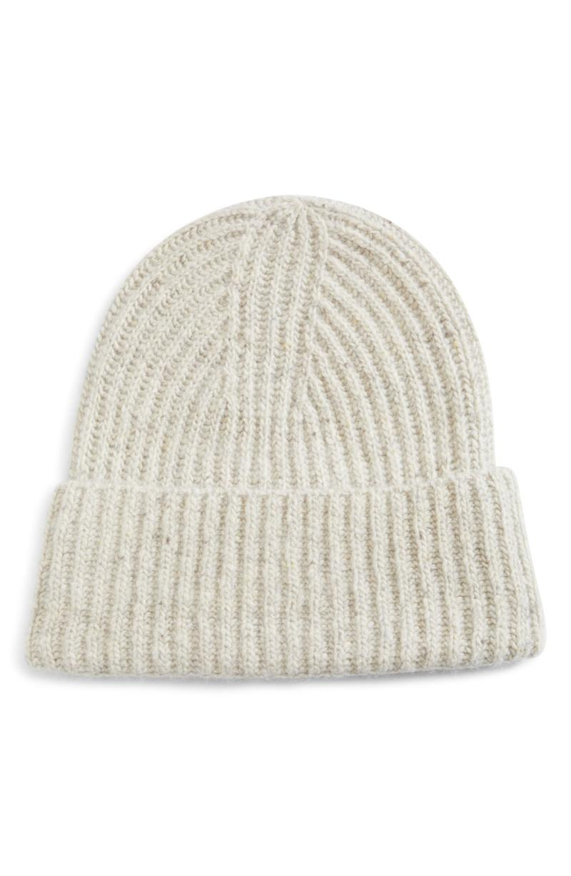 Vince Ribbed Cashmere Beanie. Image via Nordstrom.