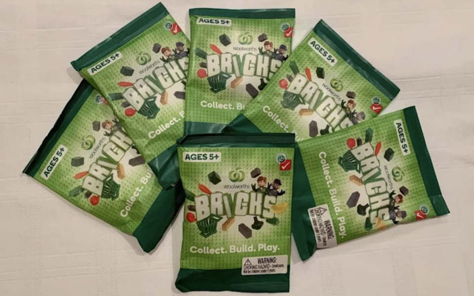 Woolworths Bricks packets in a promotional display. Source: Woolworths Group