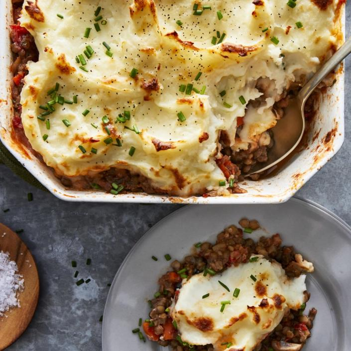 <p>Lentils take the place of ground meat and vegan butter adds creaminess to the mashed potatoes in this easy vegan shepherd's pie recipe. If you want to cut down on the cooking time, use precooked lentils and omit most of the vegetable broth, adding some in only if the mixture seems dry.</p>