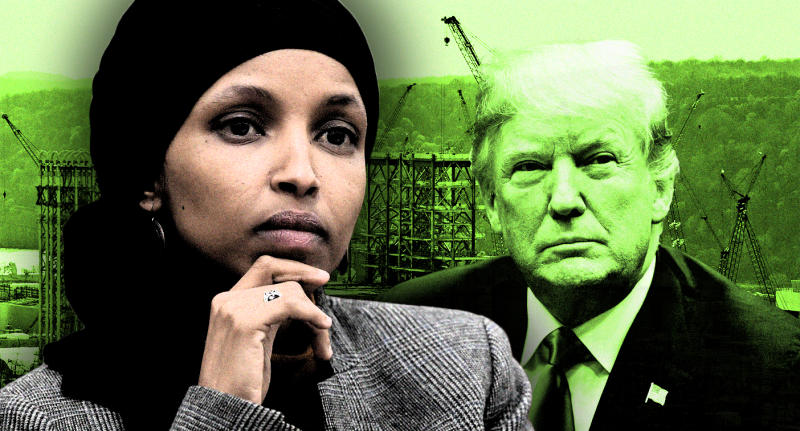 Rep. Ilhan Omar, President Trump and a petrochemical plant being built on the banks of the Ohio River in Monaca, Pa. (Photo illustration: Yahoo News; photos: AP (2), Gene J. Puskar/AP)