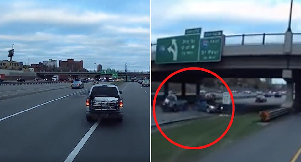 A ute drivers across a median strip and clips a car causing it to spin out on the I-94 in Minnesota.