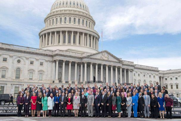 PHOTO: Members-elect from the 116th Congress pose for the freshman class photo on the East Front of the Capitol on Nov. 14, 2018. (CQ-Roll Call Inc via Getty Images, FILE)