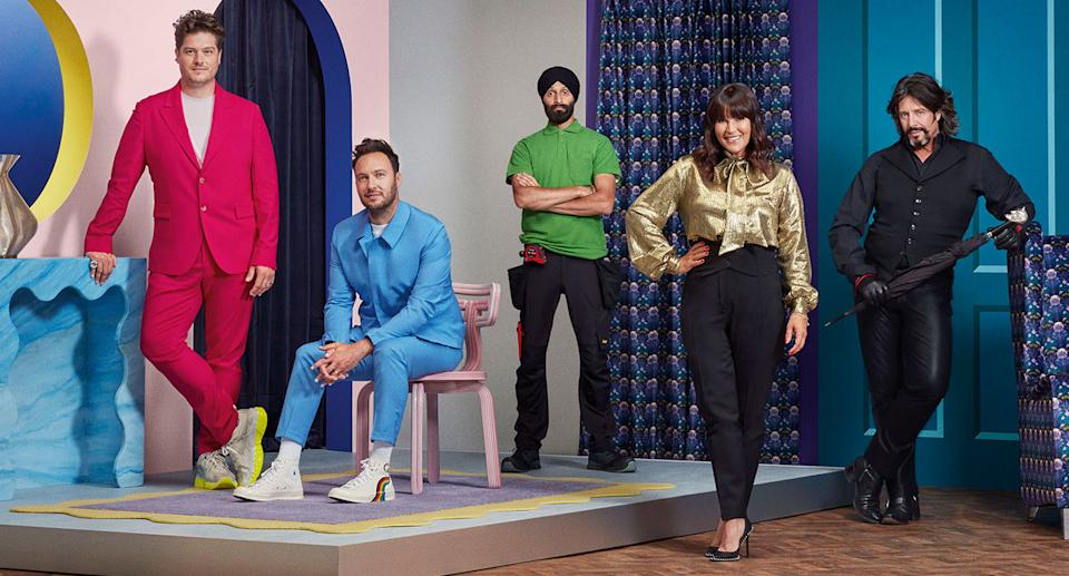 The new look Changing Rooms line up: Russell Whitehead, Jordan Cluroe, Tibby Singh Anna Richardson and Laurence Llewelyn-Bowen. (Channel 4)