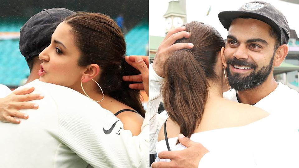 Pictured here, Virat Kohli and his wife Anushka Sharma are expecting their first baby later this year.