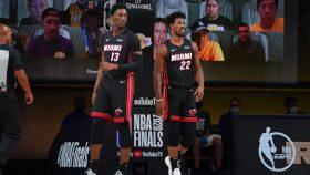 Heat center Bam Adebayo and wing Jimmy Butler vs. Lakers in NBA Finals