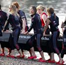 <p>At a training session with the Sisterhood Cross Channel rowing team on the River Thames in London.</p>