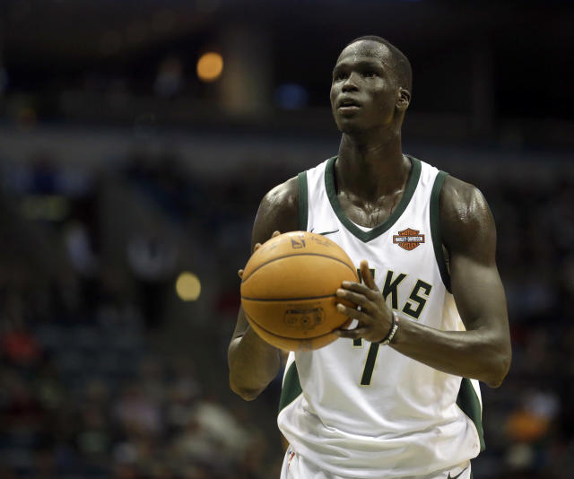 "<a class=""link rapid-noclick-resp"" href=""/nba/players/5641/"" data-ylk=""slk:Thon Maker"">Thon Maker</a> becoming a Kevin Garnett facsimile would go a long way toward turning the <a class=""link rapid-noclick-resp"" href=""/nba/teams/mil/"" data-ylk=""slk:Milwaukee Bucks"">Milwaukee Bucks</a> into a perennial contender. (AP)"