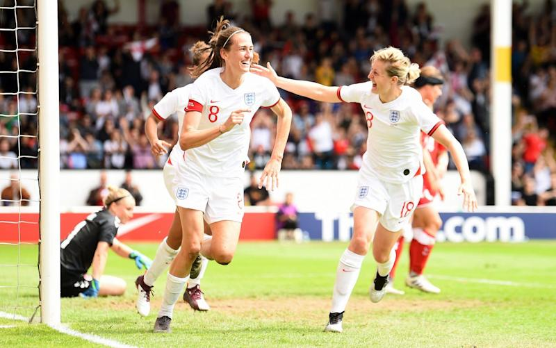 Captain Jill Scott's header has doubled England's lead over Denmark in Walsall - Getty Images Europe