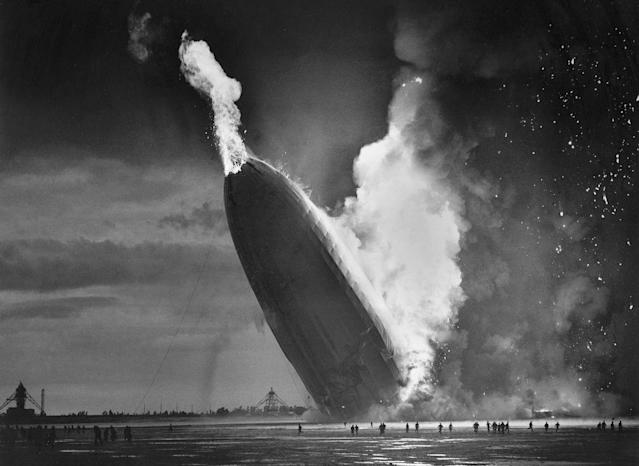 "<p>In this May 6, 1937 file photo, the German dirigible Hindenburg crashes to earth in flames after exploding at the U.S. Naval Station in Lakehurst, N.J. Only one person is left of the 62 passengers and crew who survived when the Hindenburg burst into flames 80 years ago Saturday, May 6, 2017. Werner Doehner was 8 years old when he boarded the zeppelin with his parents and older siblings after their vacation to Germany in 1937. The 88-year-old now living in Parachute, Colo., tells The Associated Press that the airship pitched as it tried to land in New Jersey and that ""suddenly the air was on fire."" (AP Photo/Murray Becker, File) </p>"