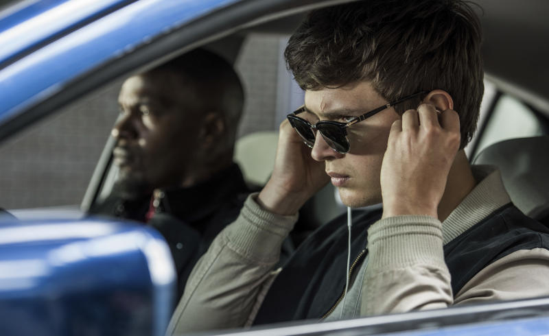 "This image released by Sony Pictures shows Ansel Elgort, right, and Jamie Foxx in a scene from ""Baby Driver,"" in theaters on June 28. (Wilson Webb/Sony/TriStar Pictures via AP)"