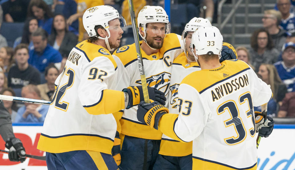 The Predators have been filling the net recently. (Andrew Bershaw/Icon Sportswire via Getty Images)