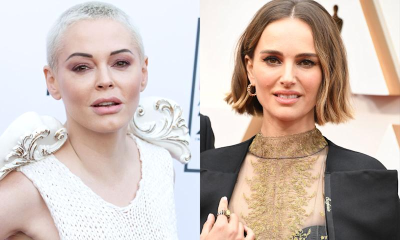 Rose McGowan (L) called out Natalie Portman for her Oscars cape embroidered with the names of female directors. Portman has responded to the criticism. (Photos: Getty Images)
