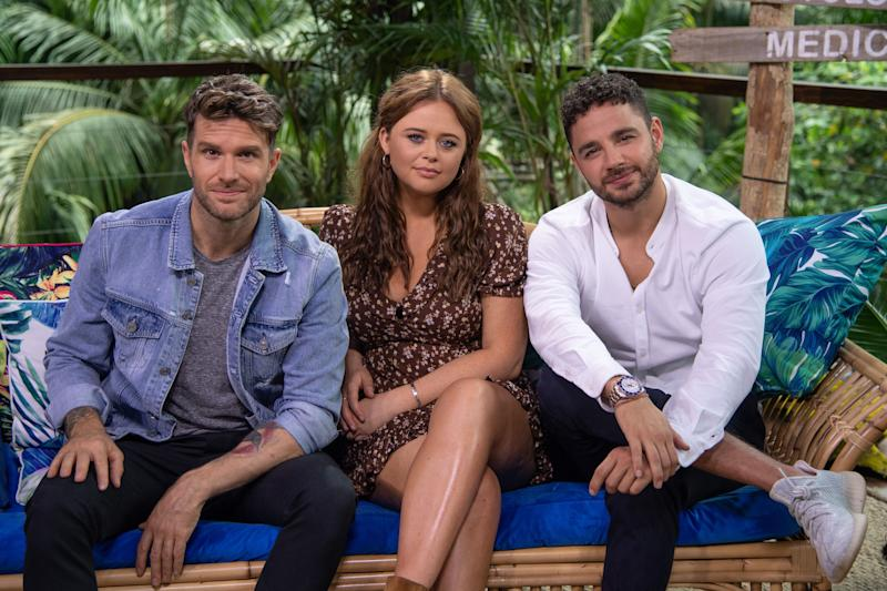 Joel Dommett with Extra Camp co-hosts Emily Atack and Adam Thomas (Photo: James Gourley/ITV/Shutterstock)