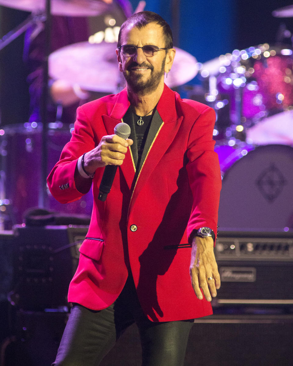 Ringo Starr, formerly of The Beatles, performs in concert with Ringo Starr and His All Starr Band at The Met on Wednesday, Aug. 14, 2019, in Philadelphia. (Photo by Owen Sweeney/Invision/AP)