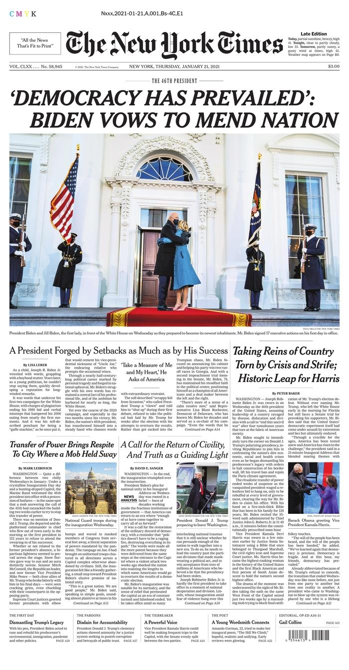 January 21, 2021 front page of The New York Times