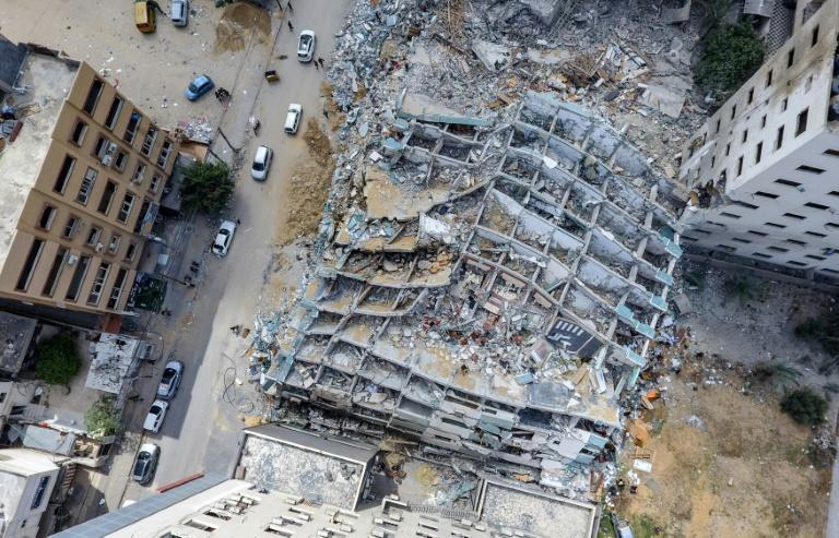 An aerial view of Al-Jalaa Tower in Gaza City, which was levelled by an Israeli air strike during the conflict