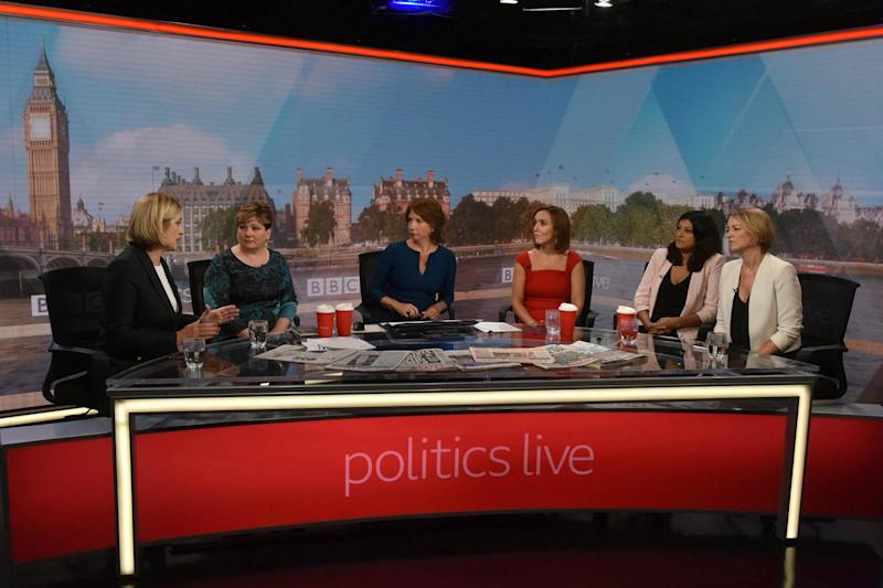 MPs Amber Rudd and Emily Thornberry, together with presenters Jo Coburn, Camilla Tominey, Anushka Asthana and Laura Kuenssberg, appear on Politics Live: REUTERS
