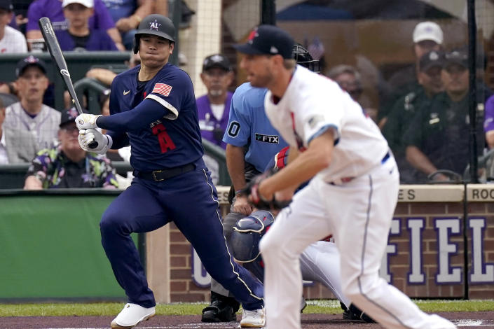 American League's Shohei Ohtani, of the Los Angeles Angeles, grounds out on a pitch by National League's starting pitcher Max Scherzer, of the Washington Nationals, during the first inning of the MLB All-Star baseball game, Tuesday, July 13, 2021, in Denver. (AP Photo/Gabriel Christus)