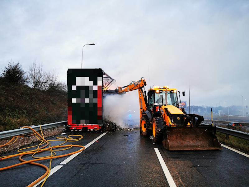 The fire led to a closure on the M1 (Picture: Highways England)