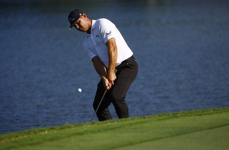 Sep 21, 2018; Atlanta, GA, USA; Gary Woodland misses his chip on the 15th green during the second round of the Tour Championship golf tournament at East Lake Golf Club. Mandatory Credit: Butch Dill-USA TODAY Sports