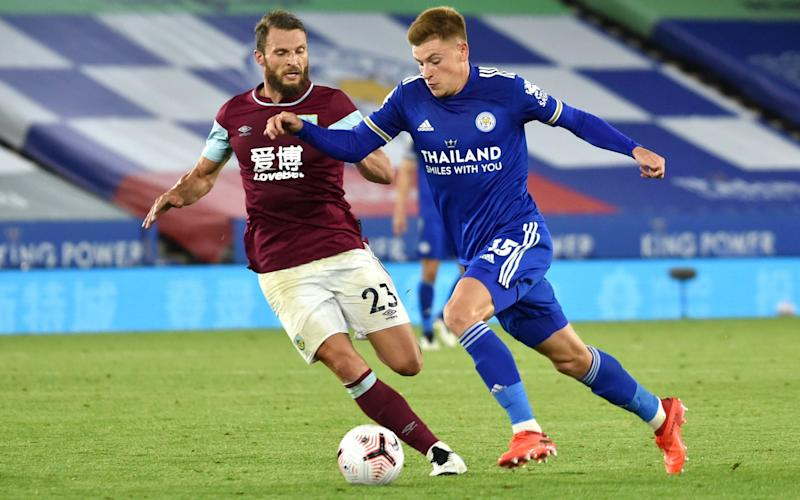 Harvey Barnes of Leicester City battles for possession with Erik Pieters of Burnley during the Premier League match between Leicester City and Burnley at The King Power Stadium on September 20, 2020 in Leicester, England. - Getty mages