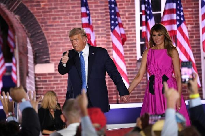 US President Donald Trump and First Lady Melania Trump flew to Baltimore for Vice President Mike Pence's address to the Republican National Convention