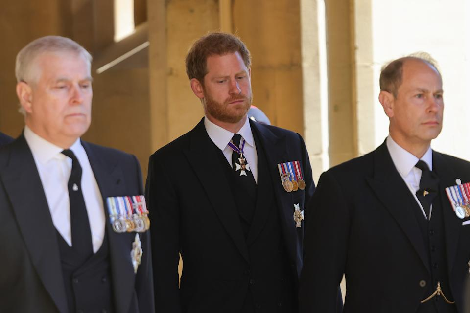 WINDSOR, ENGLAND - APRIL 17: Prince Andrew, Duke of York, Prince Edward,  Prince Harry, Duke of Sussex and Prince Edward, Earl of Wessex during the funeral of Prince Philip, Duke of Edinburgh at Windsor Castle on April 17, 2021 in Windsor, England. Prince Philip of Greece and Denmark was born 10 June 1921, in Greece. He served in the British Royal Navy and fought in WWII. He married the then Princess Elizabeth on 20 November 1947 and was created Duke of Edinburgh, Earl of Merioneth, and Baron Greenwich by King VI. He served as Prince Consort to Queen Elizabeth II until his death on April 9 2021, months short of his 100th birthday. His funeral takes place today at Windsor Castle with only 30 guests invited due to Coronavirus pandemic restrictions. (Photo by Chris Jackson/WPA Pool/Getty Images)
