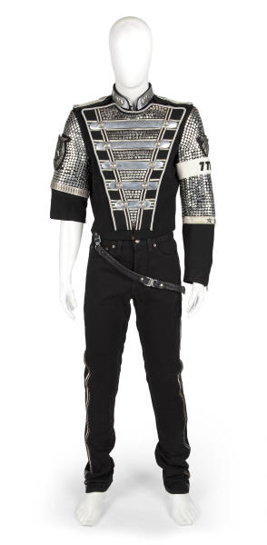 """An undated image released by Julien's Auctions, shows a  Michael Jackson's HIStory costume consisting of a jacket with hanging belt and denim pants, designed by Tompkins & Bush.This item is part of Julien's Auctions  worldwide tour of """"Icons & Idols"""" featuring the fashions of the king of pop opening May 18-June 29, 2012 in Santiago, Chile. (AP Photo/Julien's Auctions) NO SALES"""