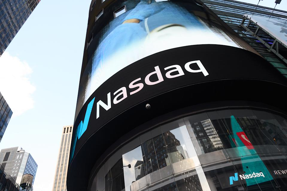 NEW YORK, NEW YORK - MAY 07: A view of NASDAQ in Times Square during the coronavirus pandemic on May 7, 2020 in New York City. COVID-19 has spread to most countries around the world, claiming over 270,000 lives with over 3.9 million infections reported. (Photo by Noam Galai/Getty Images)