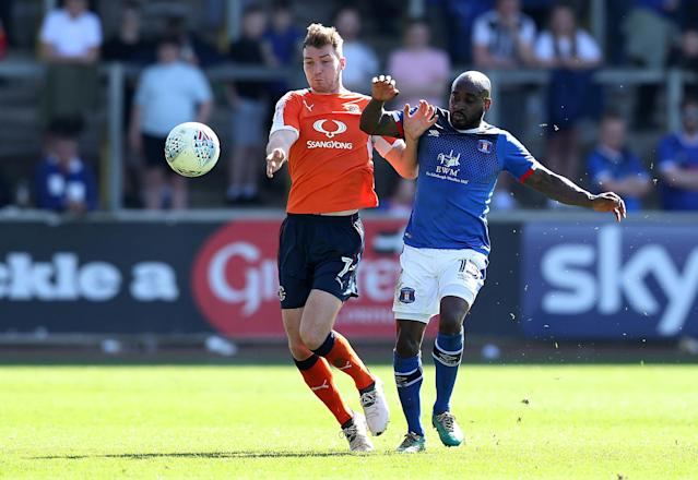 "Soccer Football - League Two - Carlisle United v Luton Town - Brunton Park, Carlisle, Britain - April 21, 2018 Luton Town's Jack Stacey in action with Carlisle United's Jamal Campbell-Ryce Action Images/John Clifton EDITORIAL USE ONLY. No use with unauthorized audio, video, data, fixture lists, club/league logos or ""live"" services. Online in-match use limited to 75 images, no video emulation. No use in betting, games or single club/league/player publications. Please contact your account representative for further details."