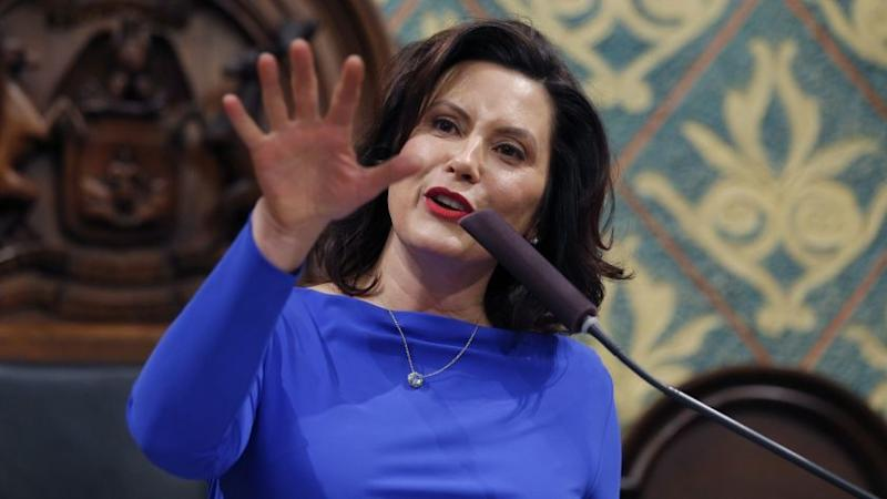 FILE - Ion this Feb. 12, 2019 file photo, Michigan Gov. Gretchen Whitmer delivers her State of the S