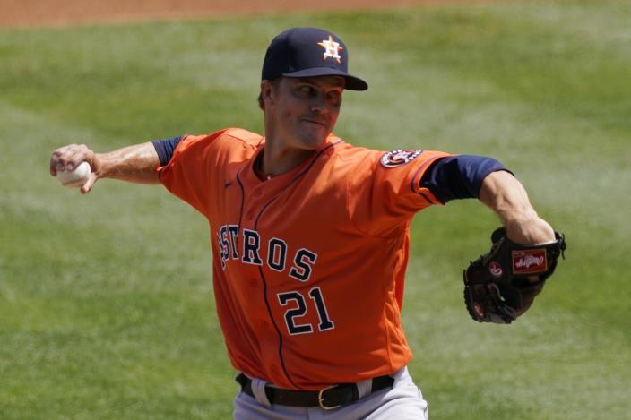 Houston Astros starting pitcher Zack Greinke throws to the plate during the first inning of a baseball game against the Los Angeles Angels Tuesday, April 6, 2021, in Anaheim, Calif. (AP Photo/Mark J. Terrill)