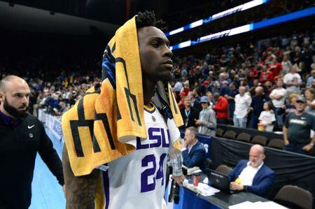 Mar 21, 2019; Jacksonville, FL, USA; LSU Tigers forward Emmitt Williams (24) leaves the court after defeating the Yale Bulldogs during the second half in the first round of the 2019 NCAA Tournament at Jacksonville Veterans Memorial Arena. Mandatory Credit: John David Mercer-USA TODAY Sports