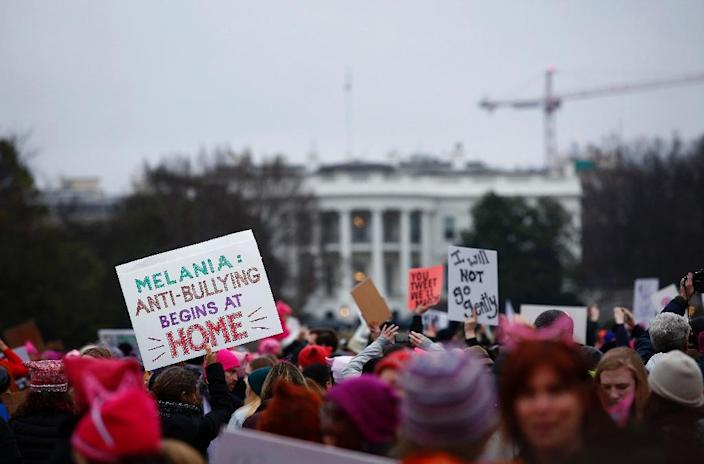 Demonstrators protest during the Women's March outside the White House in Washington, DC (AFP Photo/Joshua LOTT)