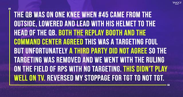 An excerpt from the Pac-12's USC-WSU official game report shows the play in question. (Yahoo Sports illustration)