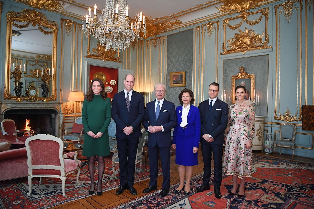 <p>On their first day in Stockholm, the Duke and Duchess of Cambridge were greeted by King Carl XVI Gustaf and Queen Silvia of Sweden. Crown Princess Victoria was also in attendance and chose a floral-emblazoned dress by Ida Sjöstedt for the momentous occasion. <em>[Photo: Getty]</em> </p>