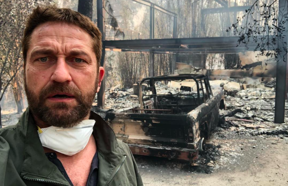 Gerard Butler, who lost his home in Malibu in the Woolsey Fire just days ago, hosted a benefit for wildfire relief on Friday. (Photo: Greg Doherty/Getty Images; image: Gerard Butler via Instagram)