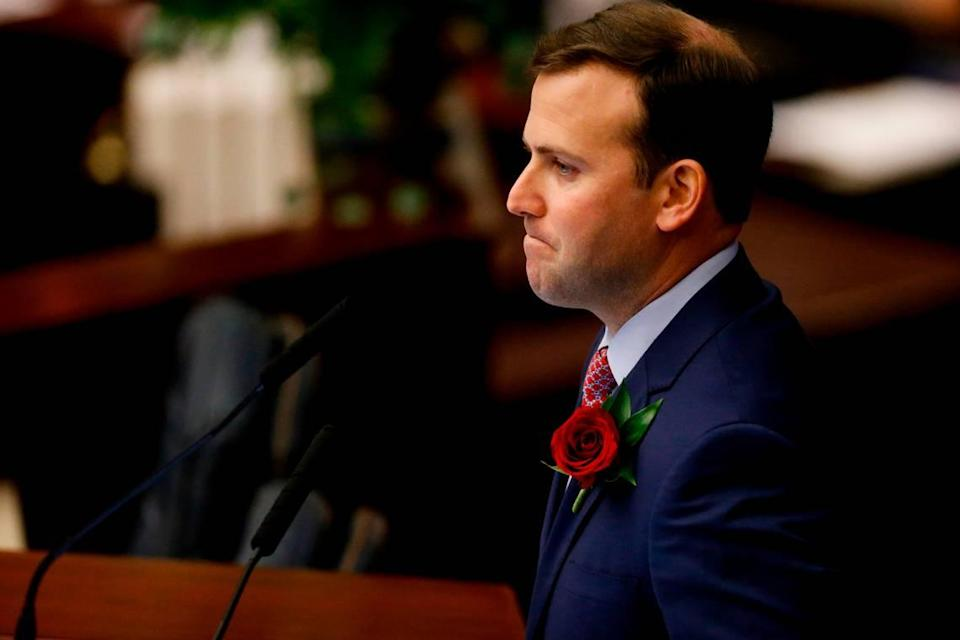 House Speaker Chris Sprowls, R- Palm Harbor, speaks during the house session of the Florida Legislature at the Capitol in Tallahassee on Tuesday, March 2, 2021.