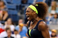Serena Williams of the United States celebrates a point during the women's singles final match against Victoria Azarenka of Belarus on Day Fourteen of the 2012 US Open at USTA Billie Jean King National Tennis Center on September 9, 2012 in the Flushing neighborhood of the Queens borough of New York City. (Photo by Al Bello/Getty Images)