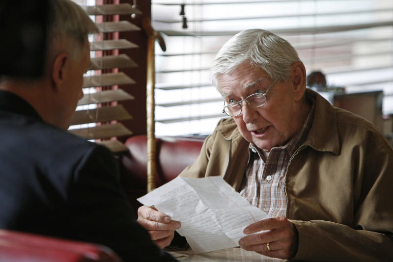 "This photo released by CBS shows Mark Harmon, left, as Leroy Jethro Gibbs, and Ralph Waite, as Jackson Gibbs, in an episode, ""Better Angels"" in ""NCIS,"" on the CBS Television Network. Waite, 85, who played the father in TV's hit series ""The Waltons,"" has died. Waite's manager, Alan Mills, says the actor died midday Thursday, Feb. 13, 2014, in the Palm Springs area. (AP Photo/CBS, Cliff Lipson)"