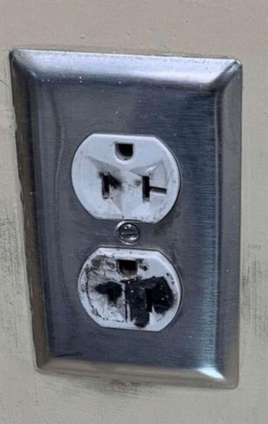 PHOTO: A burned outlet in a classroom at Whitman-Hanson Regional High School. (Whitman-Hanson Regional School District)