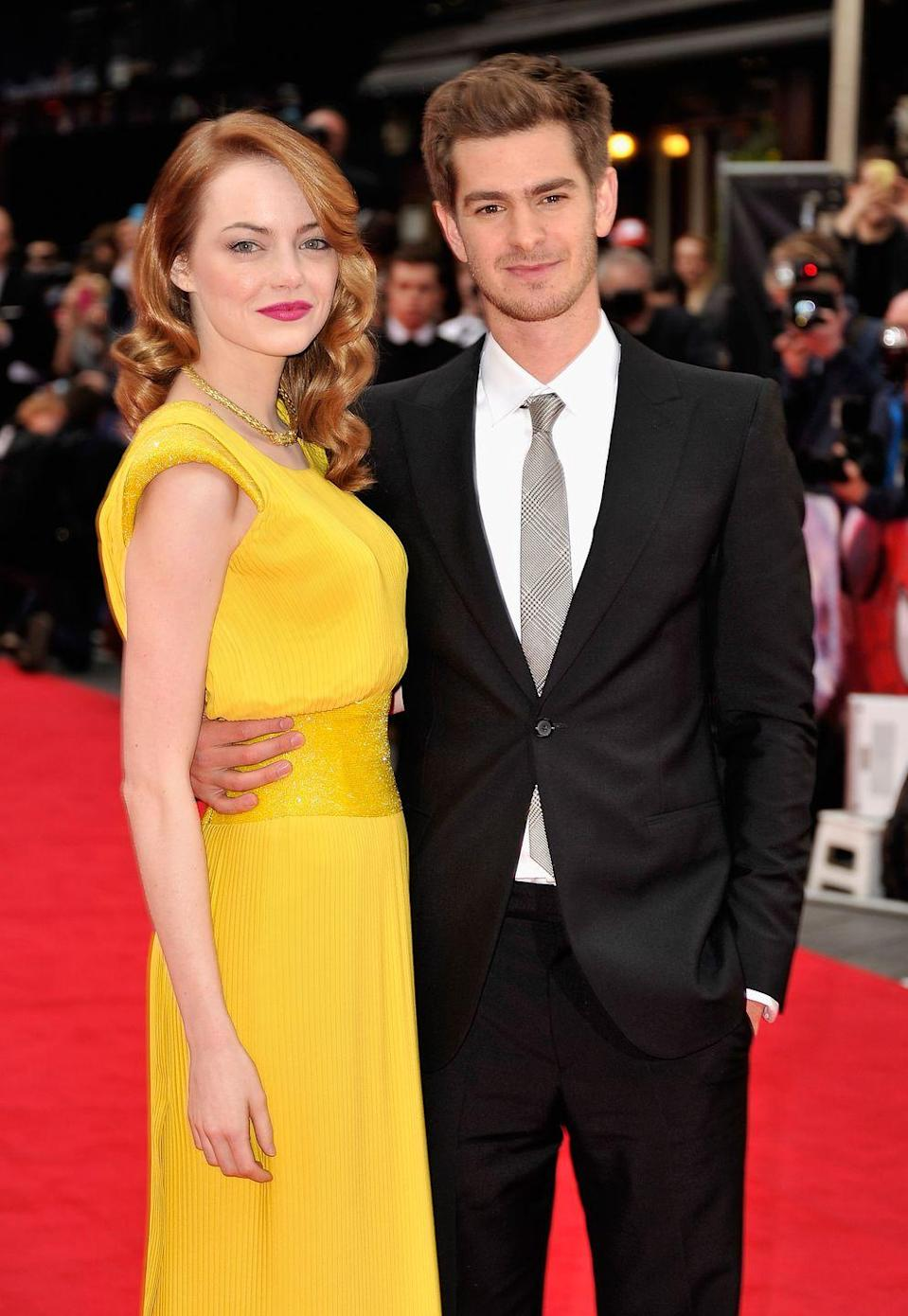 """<p>Emma Stone and Andrew Garfield became the real-life Gwen Stacy and Peter Parker when they sparked dating rumors on the set of The Amazing Spider-Man. Both of them were in relationships at the time, but those ended as promotion for the film began. (Just in time for the press to start asking questions...) </p><p>'It was like I woke up when she came in,' Andrew told <a href=""""https://www.teenvogue.com/gallery/emma-stone-andrew-garfield-teen-vogue-photos#2"""" rel=""""nofollow noopener"""" target=""""_blank"""" data-ylk=""""slk:Teen Vogue"""" class=""""link rapid-noclick-resp"""">Teen Vogue</a> about the first time he saw Emma. 'She was the last person to screen-test…And then she came in, and it was like diving into white-water rapids and having no desire to hang on to the side. Throughout shooting, it was wild and exciting. I couldn't help but try to stay with her, keep pace with her, and not let her get away.'</p><p>To everyone's dismay, the couple broke up. They continued to be <a href=""""https://www.cosmopolitan.com/uk/entertainment/a49725/emma-stone-andrew-garfield-relationship-timeline/"""" rel=""""nofollow noopener"""" target=""""_blank"""" data-ylk=""""slk:very friendly exes"""" class=""""link rapid-noclick-resp"""">very friendly exes</a>, though.</p>"""
