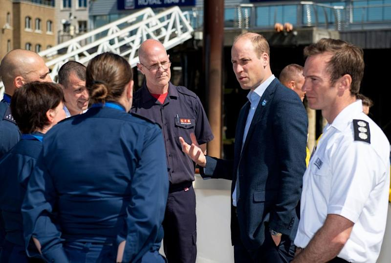 Prince William meets first responders during the launch of a new campaign to help prevent accidents and self-harm incidents on the River Thames. | REX/Shutterstock