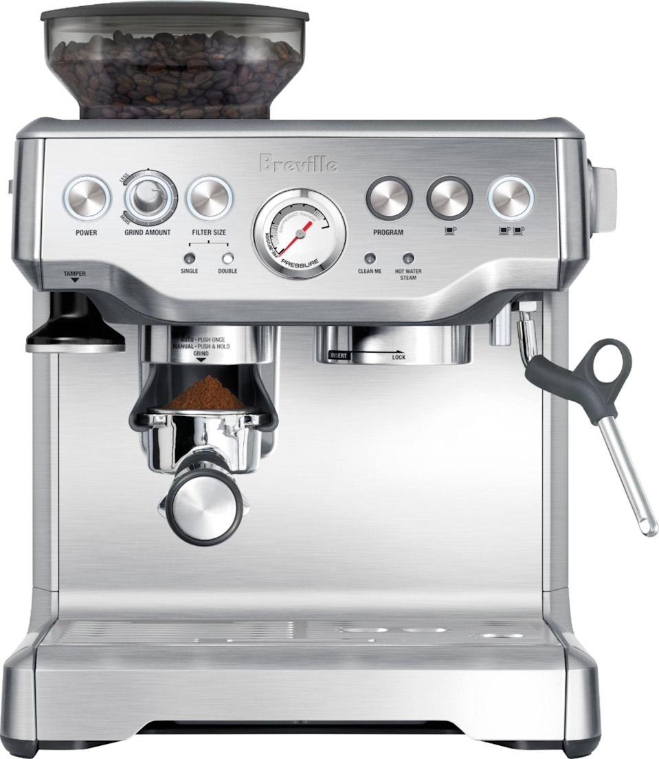 """<p><strong>Breville</strong></p><p>bestbuy.com</p><p><strong>$699.95</strong></p><p><a href=""""https://go.redirectingat.com?id=74968X1596630&url=https%3A%2F%2Fwww.bestbuy.com%2Fsite%2Fbreville-the-barista-express-espresso-machine-with-15-bars-of-pressure-milk-frother-and-intergrated-grinder-stainless-steel%2F6291169.p%3FskuId%3D6291169&sref=https%3A%2F%2Fwww.countryliving.com%2Flife%2Fg32368852%2Fgifts-dad-wants-nothing%2F"""" rel=""""nofollow noopener"""" target=""""_blank"""" data-ylk=""""slk:Shop Now"""" class=""""link rapid-noclick-resp"""">Shop Now</a></p><p>You're sure to reap the rewards of this Father's Day gift! Let your coffee-loving dad make espresso like the pros with Breville's 15-bar Italian pump and 25-shot capacity espresso machine. With over 500 5-star reviews, this espresso machine is a favorite for a reason.</p>"""