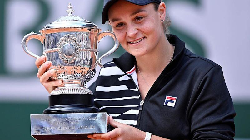 Ashleigh Barty poses with the trophy. (Photo by Mustafa Yalcin/Anadolu Agency/Getty Images)