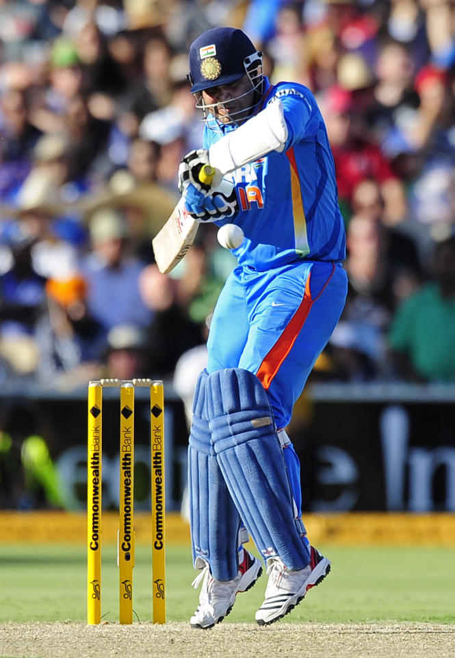 India's Virender Sehwag bats against Australia during their One Day International series cricket match in Adelaide, Australia, Sunday, Feb. 12, 2012. (AP Photo/David Mariuz)