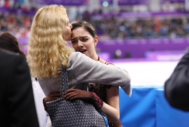 <p>Evgenia Medvedeva of Olympic Athlete from Russia reacts with coach Eteri Tutberidze after competing during the Ladies Single Skating Free Skating on day fourteen of the PyeongChang 2018 Winter Olympic Games at Gangneung Ice Arena on February 23, 2018 in Gangneung, South Korea. (Photo by Maddie Meyer/Getty Images) </p>